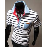 Turn-Down Stripes Printed Patch Pocket Short Sleeve Men's Polo T-Shirt deal
