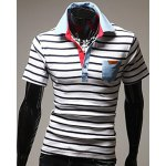 Turn-Down Stripes Printed Patch Pocket Short Sleeve Men's Polo T-Shirt
