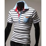 cheap Turn-Down Stripes Printed Patch Pocket Short Sleeve Men's Polo T-Shirt
