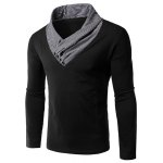 Slimming Special Collar Splicing Long Sleeves T-Shirt For Men