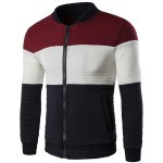 Stand Collar Color Block Spliced Long Sleeve Jacket