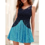 Stylish Round Collar See-Through Lace Spliced Sleeveless Dress For Women