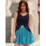 cheap Stylish Round Collar See-Through Lace Spliced Sleeveless Dress For Women