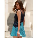 Stylish Round Collar See-Through Lace Spliced Sleeveless Dress For Women for sale