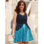 Stylish Round Collar See-Through Lace Spliced Sleeveless Dress For Women deal