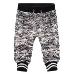 Sports Style Beam Feet Camo Print Slimming Lace-Up Capri Pants For Men