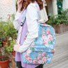 cheap Sweet Floral Print and Canvas Design Satchel For Women