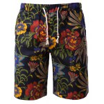 Vogue Straight Leg Floral Print Fitted Lace-Up Cotton+Linen Shorts For Men