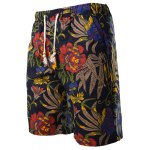 Vogue Straight Leg Floral Print Fitted Lace-Up Cotton+Linen Shorts For Men deal