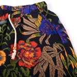 best Vogue Straight Leg Floral Print Fitted Lace-Up Cotton+Linen Shorts For Men