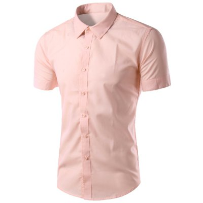 Simple Shirt Collar Solid Color Slimming Short Sleeves Shirt For Men