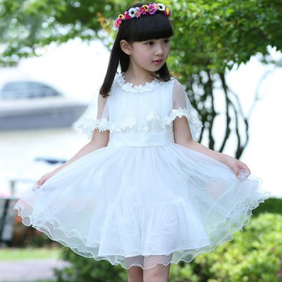 Sweet Flower Round Neck Laciness Dress Girl's Dress + Mesh Cape