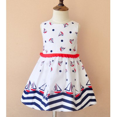 Sleeveless Pattern Print Zigzag Dress For Girl