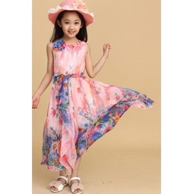 Girl's Sleeveless Floral Print Maxi Chiffon Dress