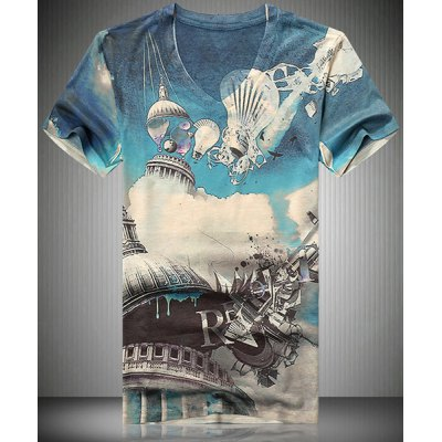 V-Neck 3D Abstract Building Printed Short Sleeve T-Shirt For Men