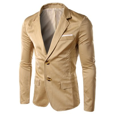 Solid Color Single Breasted Blazer For Men
