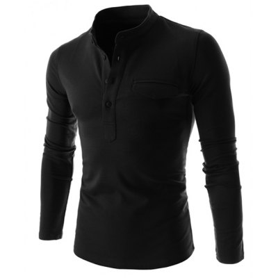 Stand Collar Pure Color Long Sleeve Men's T-Shirt