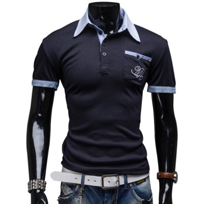 Turn-Down Collar Color Block Splicing Patch Pocket Short Sleeve Men's Polo T-Shirt