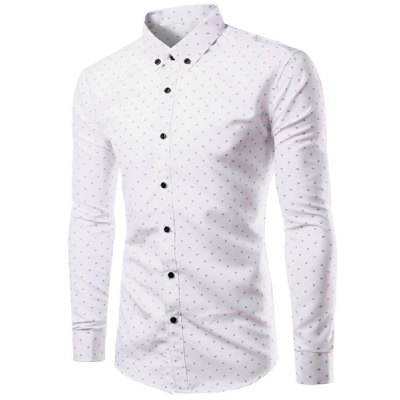 White Slimming Shirt Collar Anchor Print Long Sleeves Button-Down ...