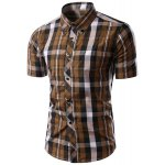 Trendy Slimming Colorful Plaid Pattern Short Sleeves Button-Down Shirt For Men