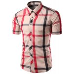 Buy Trendy Slimming Colorful Plaid Pattern Short Sleeves Button-Down Shirt Men 2XL CHECKED