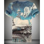 cheap V-Neck 3D Abstract Building Printed Short Sleeve T-Shirt For Men