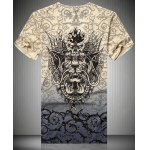 cheap V-Neck 3D Dragon and Thorns Printed Short Sleeve T-Shirt For Men