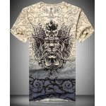V-Neck 3D Dragon and Thorns Printed Short Sleeve T-Shirt For Men