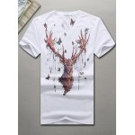 V-Neck 3D Butterfly and Elk Printed Short Sleeve T-Shirt For Men