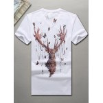 cheap V-Neck 3D Butterfly and Elk Printed Short Sleeve T-Shirt For Men