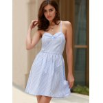 Sexy Style Spaghetti Strap Sleeveless Striped Lace-Up A-Line Dress For Women deal