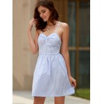 Sexy Style Spaghetti Strap Sleeveless Striped Lace-Up A-Line Dress For Women for sale