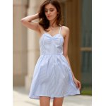 cheap Sexy Style Spaghetti Strap Sleeveless Striped Lace-Up A-Line Dress For Women
