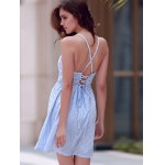best Sexy Style Spaghetti Strap Sleeveless Striped Lace-Up A-Line Dress For Women