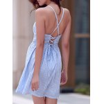 Sexy Style Spaghetti Strap Sleeveless Striped Lace-Up A-Line Dress For Women