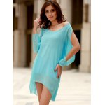 Stylish Scoop Neck Long Sleeve Solid Color See-Through Asymmetrical Hollow Out Dress For Women deal