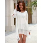 best Stylish Scoop Neck Long Sleeve Solid Color See-Through Asymmetrical Hollow Out Dress For Women