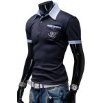 cheap Turn-Down Collar Color Block Splicing Patch Pocket Short Sleeve Men's Polo T-Shirt