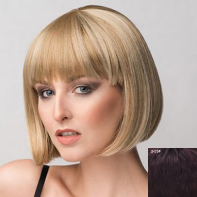 Фотография Bob Style Short Capless Stunning Straight Full Bang Real Natural Hair Wig For Women