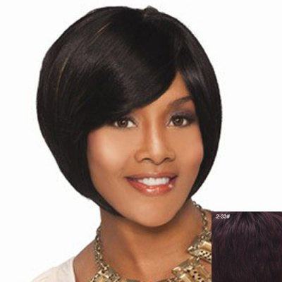 Side Bang Capless Human Hair Shaggy Short Wig For WomenHuman Hair Wigs<br>Side Bang Capless Human Hair Shaggy Short Wig For Women<br><br>Type: Full Wigs<br>Style: Straight<br>Material: Human Hair<br>Bang Type: Side<br>Length: Short<br>Density: 130%<br>Length Size(CM): 24<br>Weight: 0.170KG<br>Package Contents: 1 x Wig