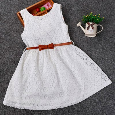 Sweet Solid Color Sleeveless Round Neck Lace Dress