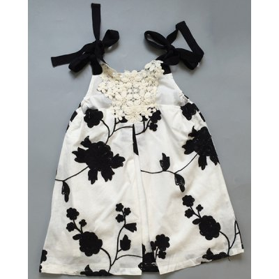 Spaghetti Strap Embroidered Hollow Out Girl's Dress
