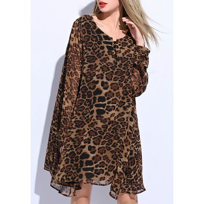 Women's Stylish Scoop Neck Long Sleeve Leopard Plus Size Dress