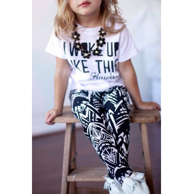 Short Sleeve Letter Pattern T-Shirt + Printed Pants Twinset For Girl