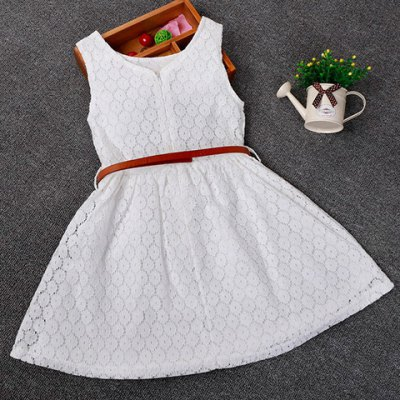 Sweet Solid Color Sleeveless Round Neck Girl's Lace Dress