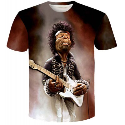 Personality Singer Print Slim Fit Round Neck Short Sleeves 3D T-Shirt For Men