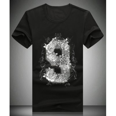 Round Neck 3D Flower and Number Printed Short Sleeve T-Shirt For Men