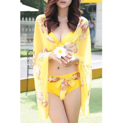 Trendy Halter Floral Print Three-Piece Women's Swimsuit