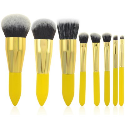 Stylish 8 Pcs Lemon Yellow Germproof Fiber Makeup Brushes Set