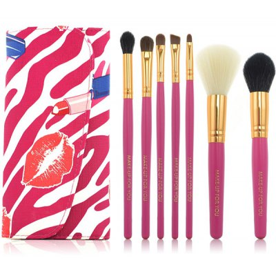 7 Pcs Fiber Makeup Brushes Set with Lipstick Print PU Brush Bag
